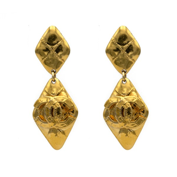 "Chanel 3 1/8"" Gilt Dangling Diamond Earrings, Spring 1994"