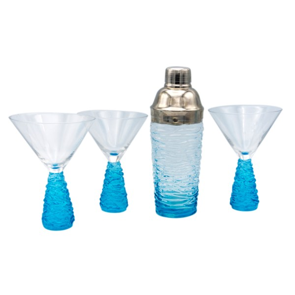 Art Deco Blue Ice Martini Glasses & Cocktail Shaker, Set of Three (3)