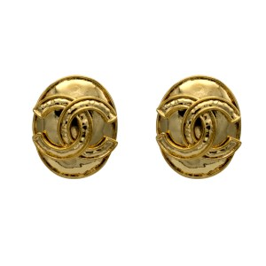 "Chanel 1 3/8"" Gilt Oval Logo Earrings, Spring 1994"