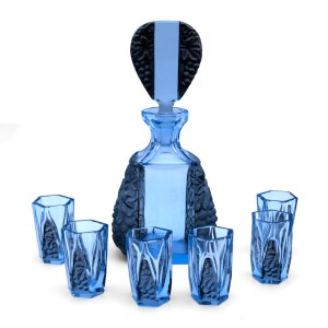 Rare Art Deco Schlevogt Aquamarine Frosted Crystal Decanter & Six (6) Cordial Glasses