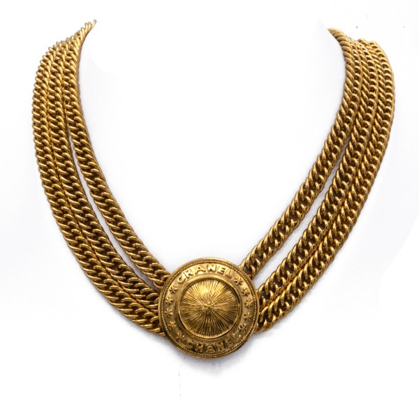 "Chanel 16 1/2"" Gilt Triple Strand Necklace with Dome Pendant, 1990"