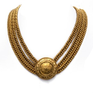 """Chanel 16 1/2"""" Gilt Triple Strand Necklace with Dome Pendant, 1990"""
