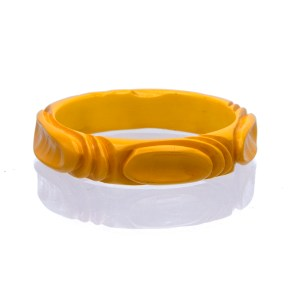 Product Photo of Butterscotch Yellow Carved Bakelite Bangle, 1940s