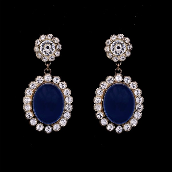 """Product photo of Revival Paste """"Anastasia"""" Clear & Sapphire Paste Earrings"""