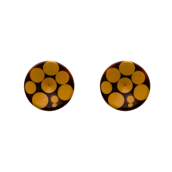 Product Photo for Chocolate Bakelite Earrings with Butterscotch Polka Dots