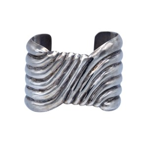 Product photo for Vintage Taxco Ribbed Sterling Cuff Bracelet