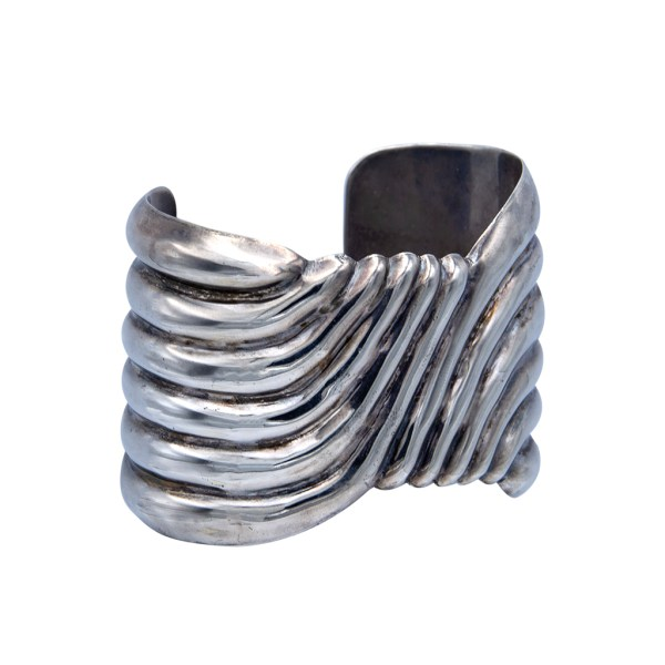 Product Photo Side View for Vintage Taxco Ribbed Sterling Cuff Bracelet