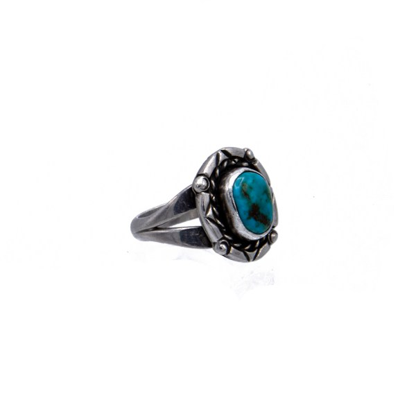 Product Photo Side View for Vintage Native American Sterling & Turquoise Ring with Single Stone