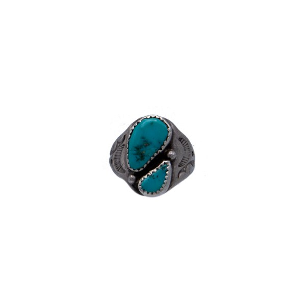 Product photo for Vintage Native American Sterling & Double Turquoise Stone Ring