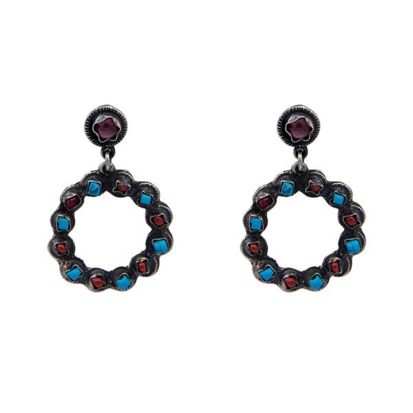 Product photo of Vintage Taxco Sterling, Turquoise, & Coral Doorknocker Hoop Earrings