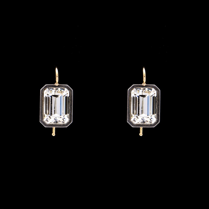 Product Photo of Revival Paste Clear Emerald Cut Dangle Earrings