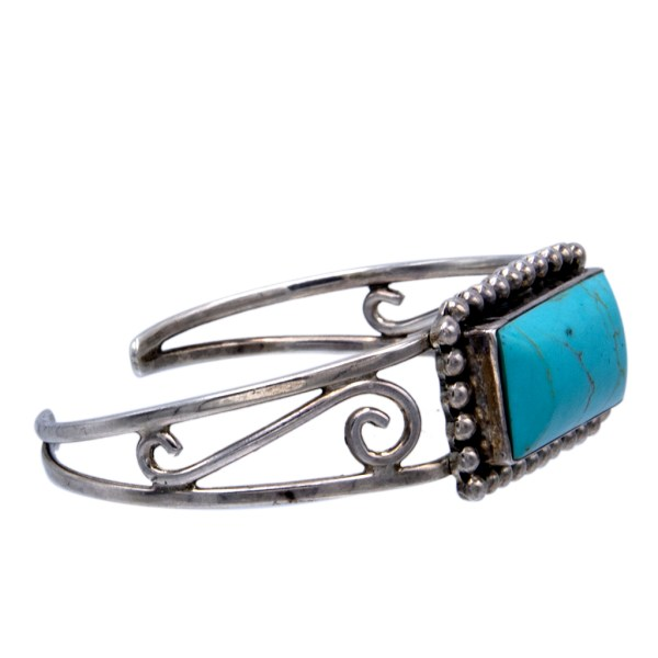 Product photo side view of Vintage Taxco Sterling & Turquoise Openwork Tapered Bangle