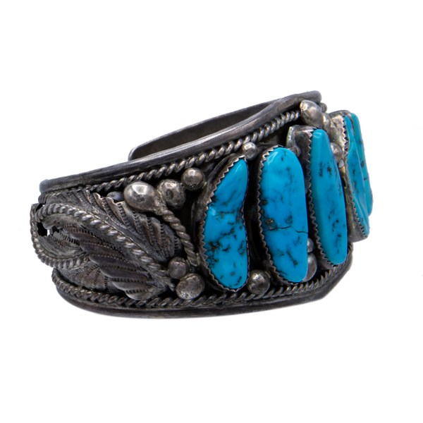 Product photo Side View of Vintage Navajo K. Emerson Sterling Cuff Bracelet with Five Turquoise Cabochons