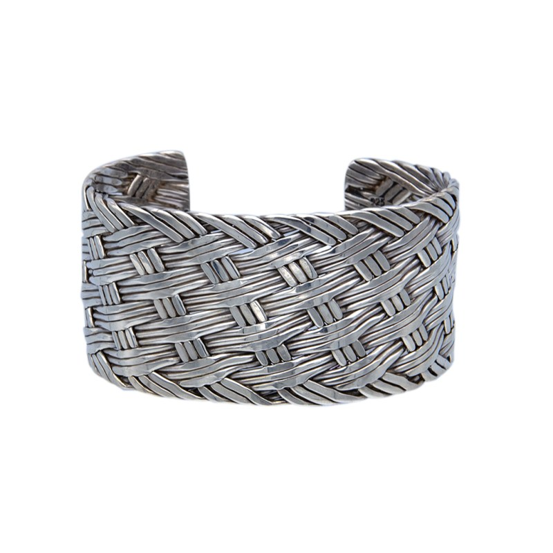 Product Photo for Mexican Sterling Silver Woven Cuff Bracelet