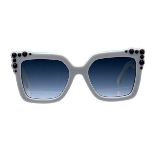 Fendi White Sunglasses with Maroon Studs