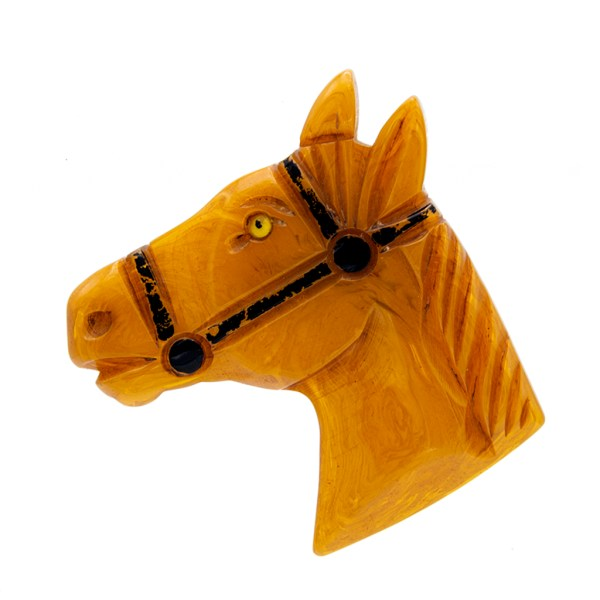 Product photo for Butterscotch Bakelite Horse Brooch, 1945