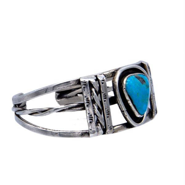 Product Photo Side View of Navajo Sterling & Turquoise Cuff Bracelet, Pre-1970