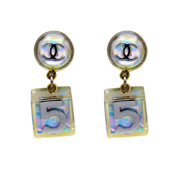"Chanel 1 1/2"" Holographic ""No. 5"" Cube Earrings, Spring 1997"