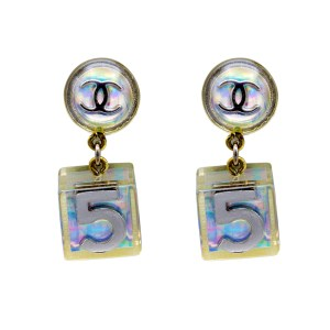 """Chanel 1 1/2"""" Holographic """"No. 5"""" Cube Earrings, Spring 1997"""