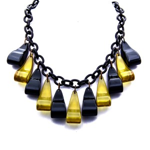 "Product Photo for Bakelite 26"" Black & Apple Juice Necklace with Comma Shaped Pendants, 1945"