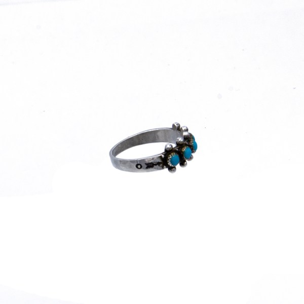 Product photo side view for Native American Sterling Ring with Turquoise Cabs, 1975