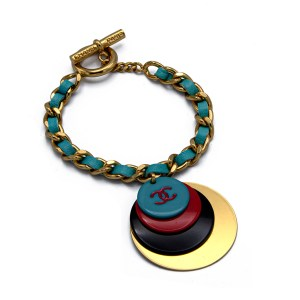 Product Photo for Chanel Gilt Curb Chain Bracelet with Aqua Leather & Multicolor Charms, Autumn 2001