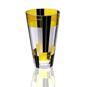Product Imafe for Karl Palda Frosted White, Yellow and Black Etched Small Vase. 1930's