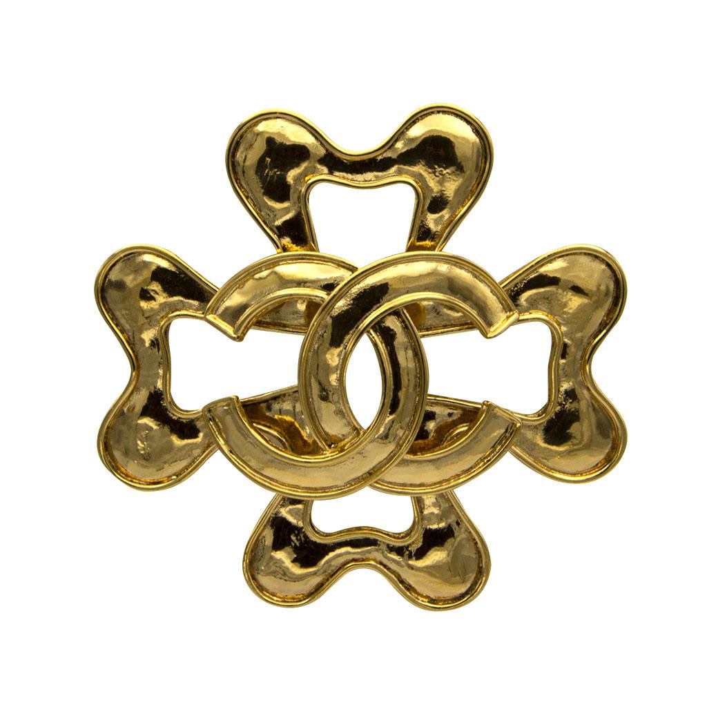 Chanel Large Gilt Quatrefoil Brooch, Spring 1994