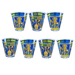 Georges Briard 22k Gold, Green, & Blue Musical Instruments Old Fashioned Glasses, Set of Seven (7)