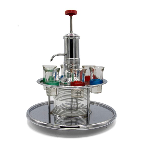 MCM Liquor Pump Dispenser with Six (6) Shot Glasses and Merry Go Round Caddy