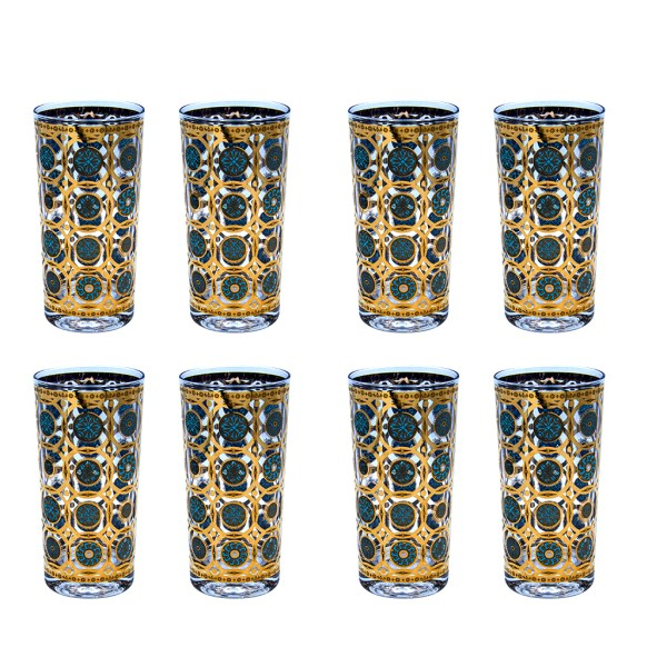 """Culver """"Aztec"""" Turquoise & 22k Gold Highball Glasses, Set of Eight (8)"""