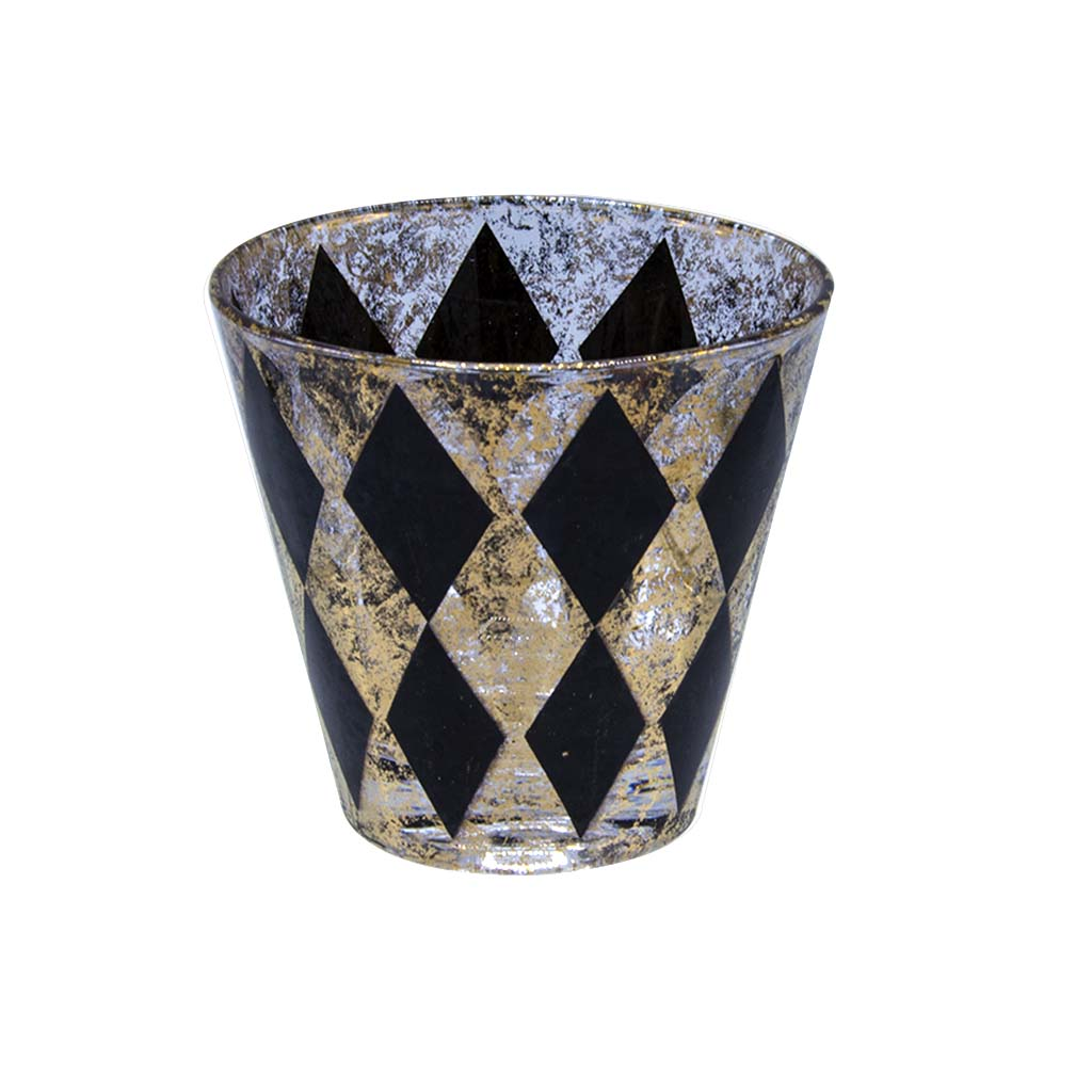 Set of 8 (Eight) mid-century sponge print harlequin in black and 22k gold old fashioned/conical rocks glasses