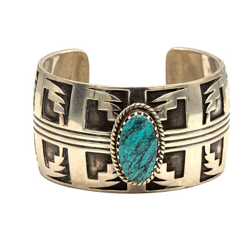 """Vintage Native American Sterling & Turquoise Lightning Bolt Cuff by """"G.S.C. Sterling"""", 1980"""
