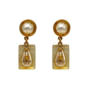 "Chanel 1 5/8"" Pearls Encased in Acrylic Dangle Earrings, Spring 1997"