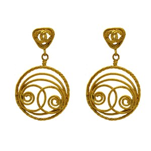 "Rare 3 9/16"" Chanel Earrings with a gilt rope twist logo on rope twist triangular tops suspending a French wrapped rope twist pendant of concentric & swirled circular design. 1991"