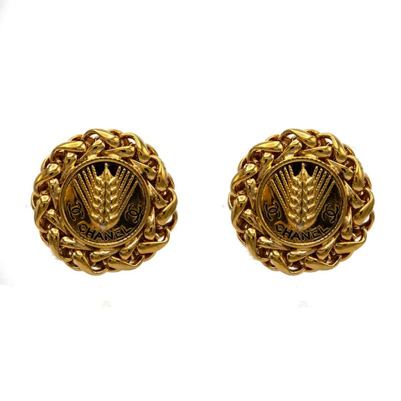 """Chanel 1 3/8"""" Gilt & Black Enamel Wheat Shaft Earrings, 1970"""