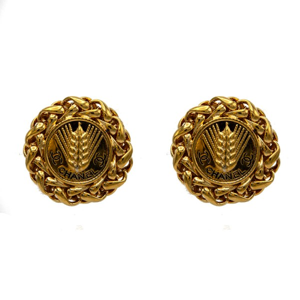 "Chanel 1 3/8"" Gilt & Black Enamel Wheat Shaft Earrings, 1970"