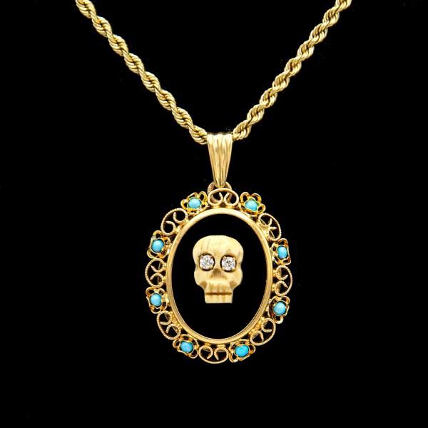 Diamond Eye Memento Mori on Onyx with Turquoise & Paste Frame