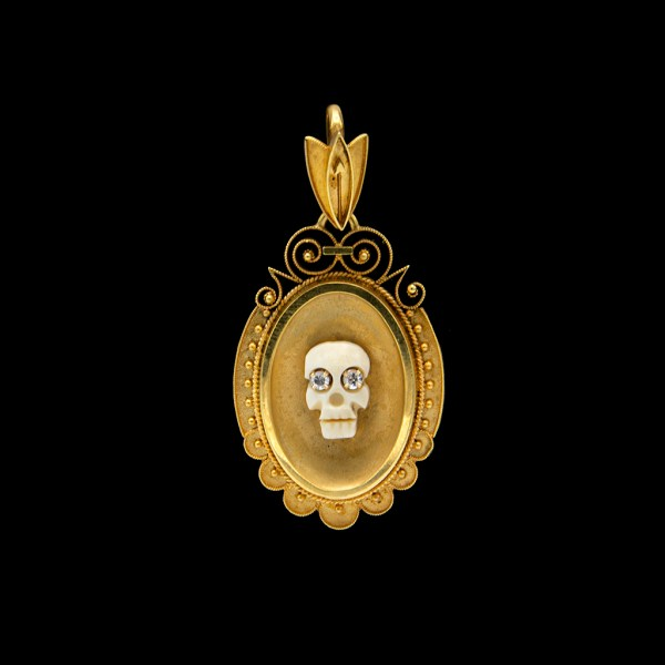 Diamond Eye Memento Mori Skull on 1890 Locket