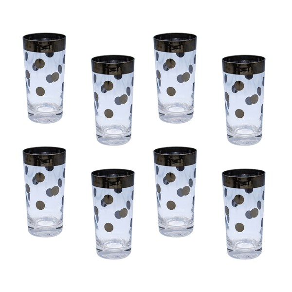 Dorothy Thorpe Polka Dot Highball Glasses, Set of Eight (8)