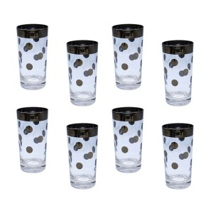 Dorothy Thorpe Polka Dot Highball Glasses, Set of Eight (8)
