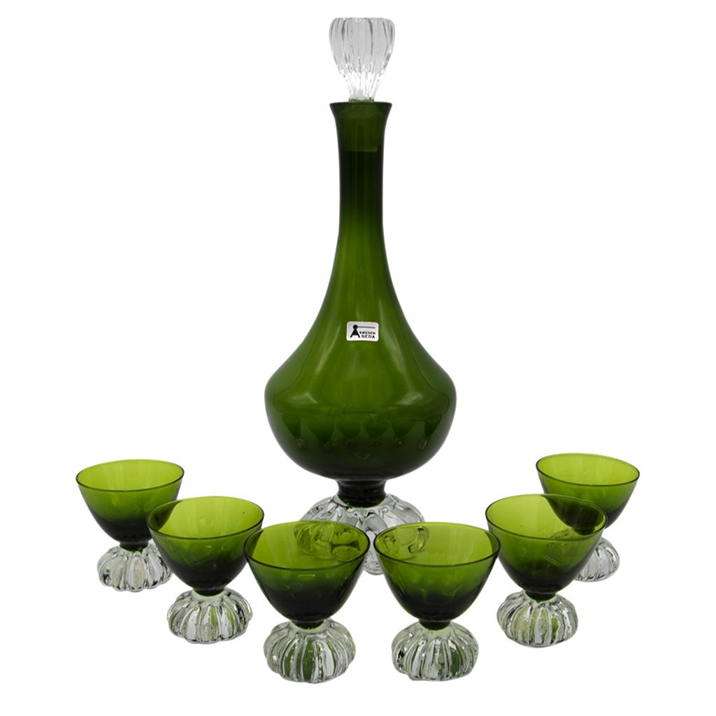 Swedish Art Deco Olive Green Decanter & Cordial Glasses, Set of Six (6)