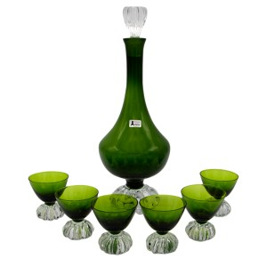 Swedish Art Deco Olive Green Decanter & Cordial Glasses, Set of Six (6)