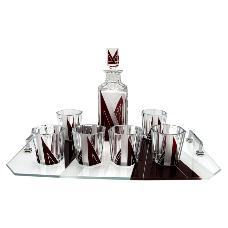 Karl PAlda Art Deco Burgundy Etched & Enameled Cut Crystal Decanter & Rocks Glasses with Tray, Set of Six (6)