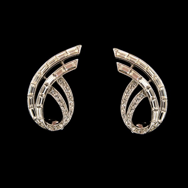 1950s Rhodium Plated Paste Swoop Earrings