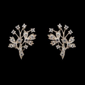 Mid Century Sterling & Paste Tree of Life Earrings, 1950