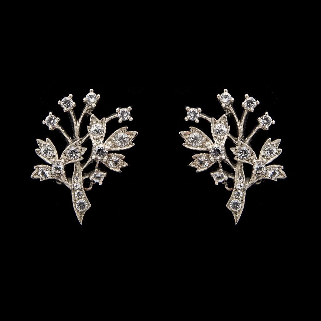 Mid Century Sterling & Paste Tree of Life Earrings, 1950