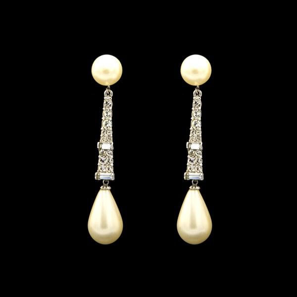 Marvella Pearl & Paste Dangle Earrings, 1965