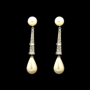Marvella Pearl & Paste Dangle Earrings, 1965