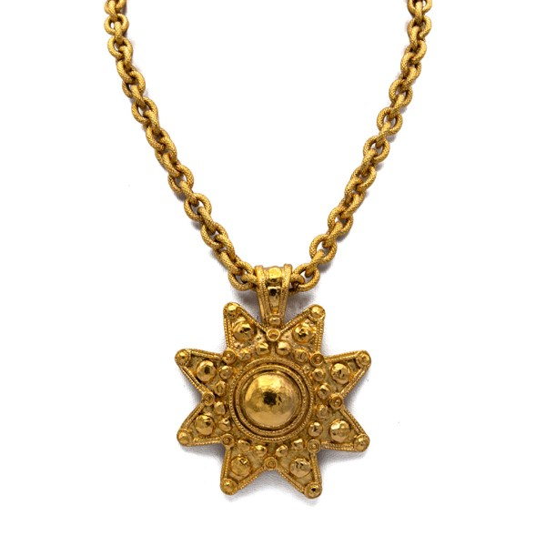 """Chanel 8-Point Star Pendant on 281/4"""" Quilted Oval Link Chain, 1988"""